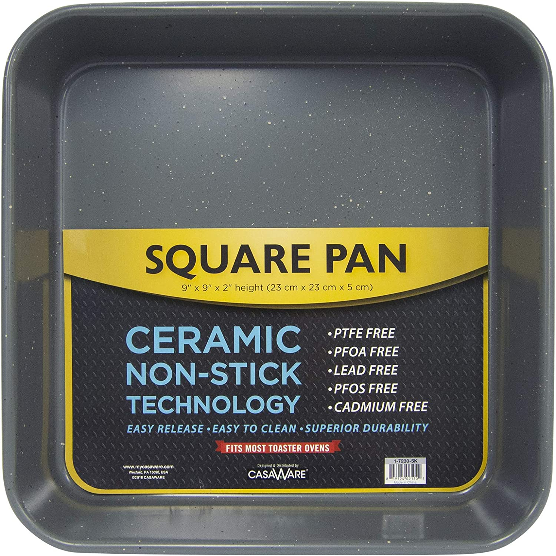 casaWare Ceramic Coated NonStick Heavy Weight 9-inch Square Cake Pan (Silver Granite)