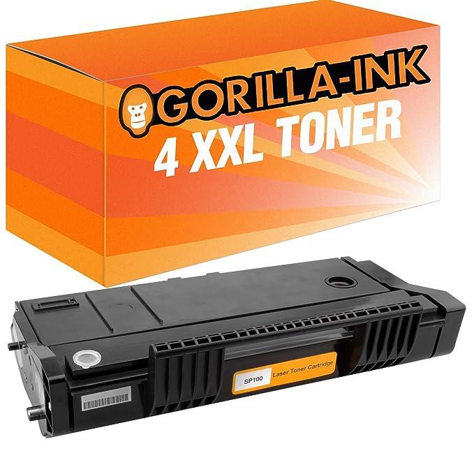 Gorilla-Ink® 4X Cartucho de Tóner XXL Compatible con Ricoh SP 100 Black SP 112 SU SP 112 Sue Ricoh SP 110 Series SP 112 SP 112 E SP 112 SF SP 112 SFE ...