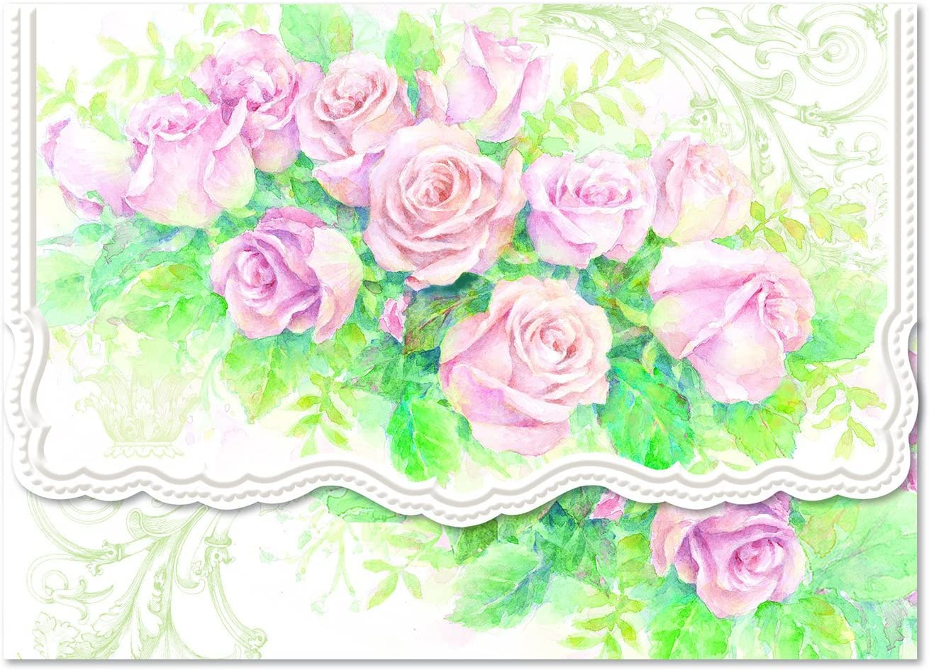 Carol Wilson Pink Rose Cascade 10 ct Embossed Note Card Set For Arts Sake by Carol Wilson