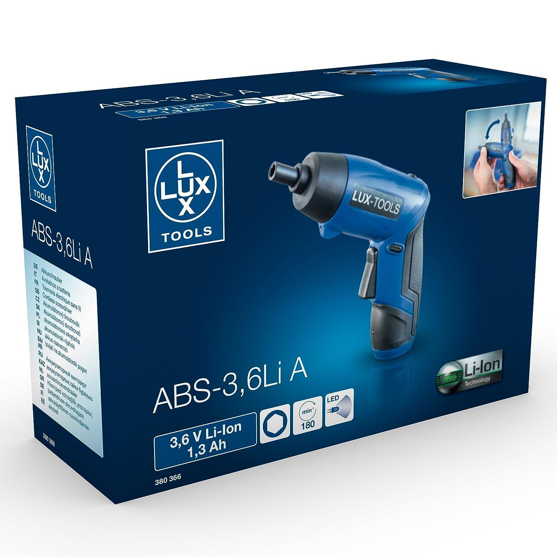 LUX-TOOLS ABS-3,6Li A Akku-Bohrschrauber inkl verstellbarer 3,6V Akkuschrauber mit 1,3Ah /& 3,5Nm Drehmoment Kleiner USB-Ladekabel Li-Ion Technologie
