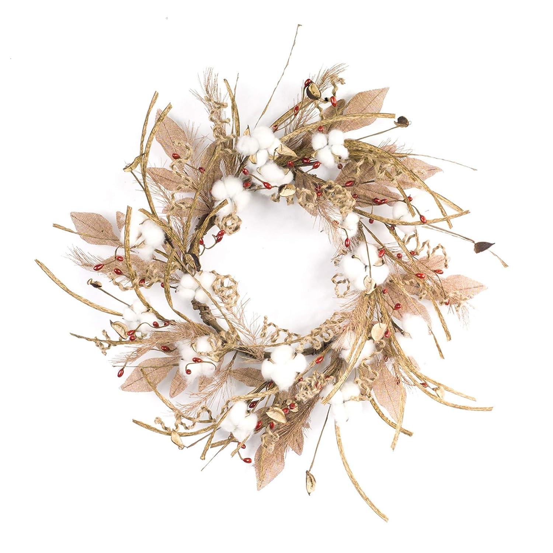 Diva atホームパックof 2ブラウンとホワイト人工Pod withの枝の花柄花輪24