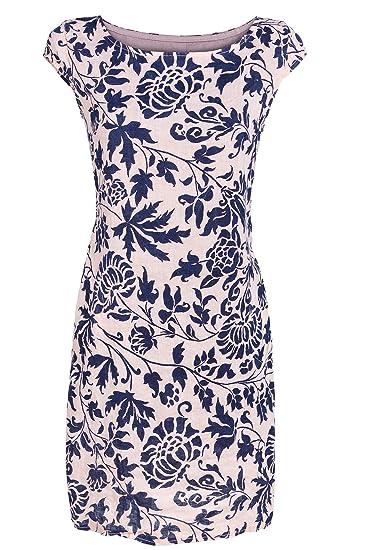 b27bf1fa7d1273 GS-Fashion Leinenkleid Damen Sommer mit Blumen Kleid ärmellos Knielang   Amazon.de  Bekleidung