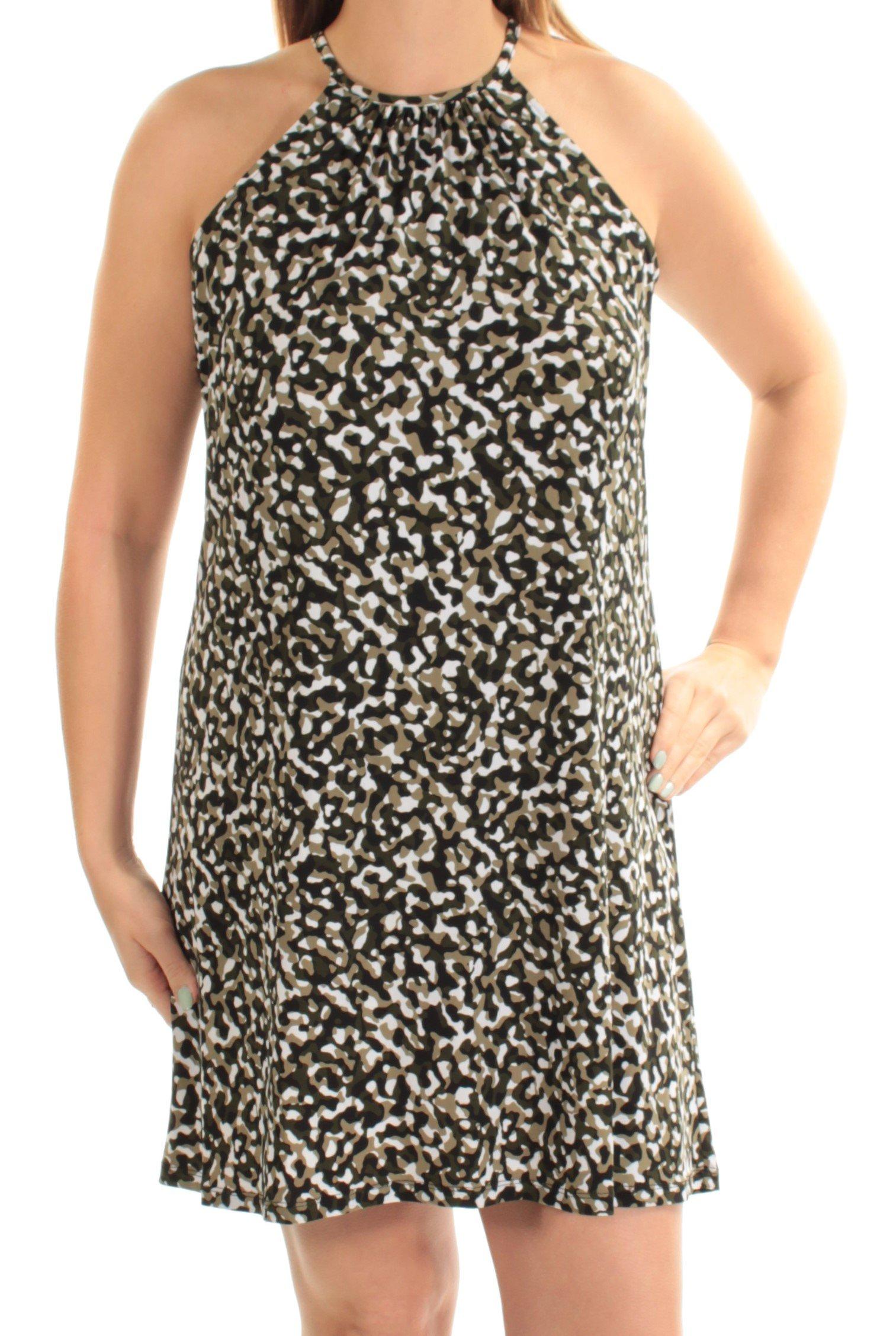 Michael Kors Women's Large Petite Camo Print Sheath Dress Green PL