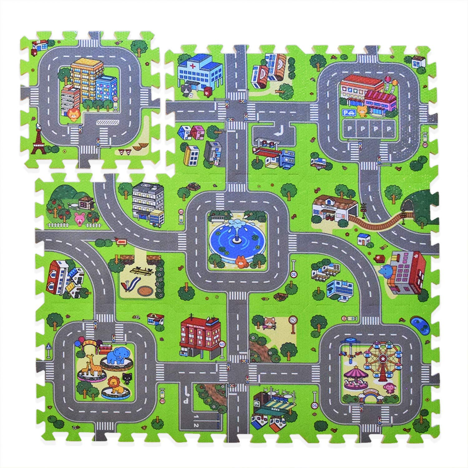 Exultimate Play Mat Road Toy Foam Playmat Interlocking Floor Puzzle Road Playroom Mat Interactive Play Set (9 Piece Set Zoo) by Exultimate
