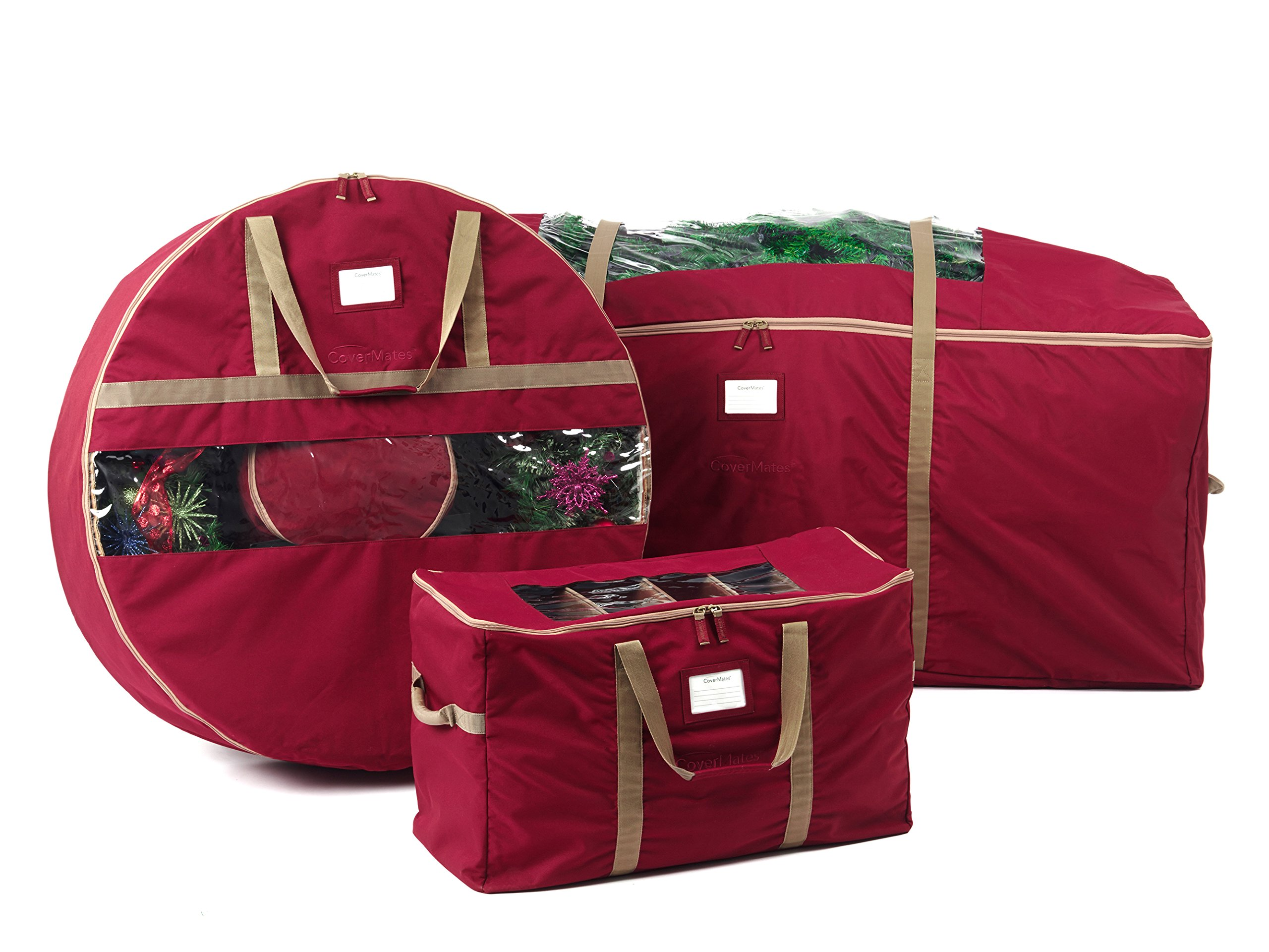 CoverMates – 3PC Holiday Storage Set (60'' Tree Storage Bag + 36'' Wreath Storage + 108PC Ornament Storage Bag) – 3 Year Warranty- Red