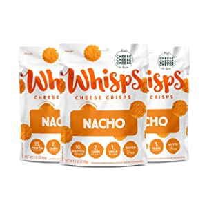 Whisps Nacho Cheddar Cheese Crisps | Back to School Snack, Keto Snack, Gluten Free, Low Sugar, Low Carb, High Protein | 2.12oz (3 Pack)