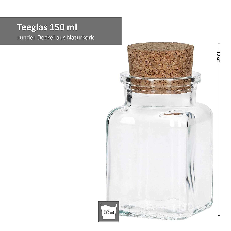 para Almacenamiento de Hierbas y Especias Juego de Vasos de t/é con tap/ón de Corcho MamboCat 12 Piezas 150 ml Reutilizable