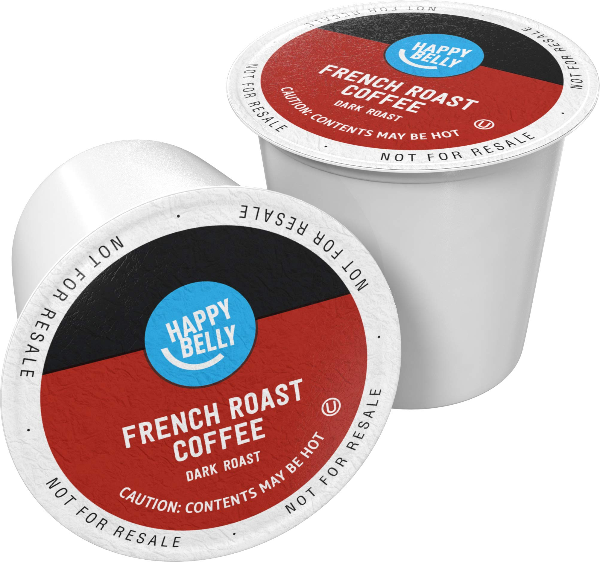 Amazon Brand - 100 Ct. Happy Belly Dark Roast Coffee Pods, French Roast, Compatible with Keurig 2.0 K-Cup Brewers