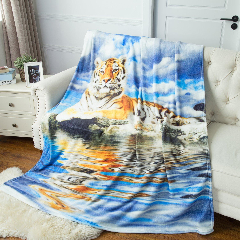 Multicolored Tiger Printed Throw Blanket - Luxury Flannel Fleece Throw Fuzzy Animal Blanket 60\