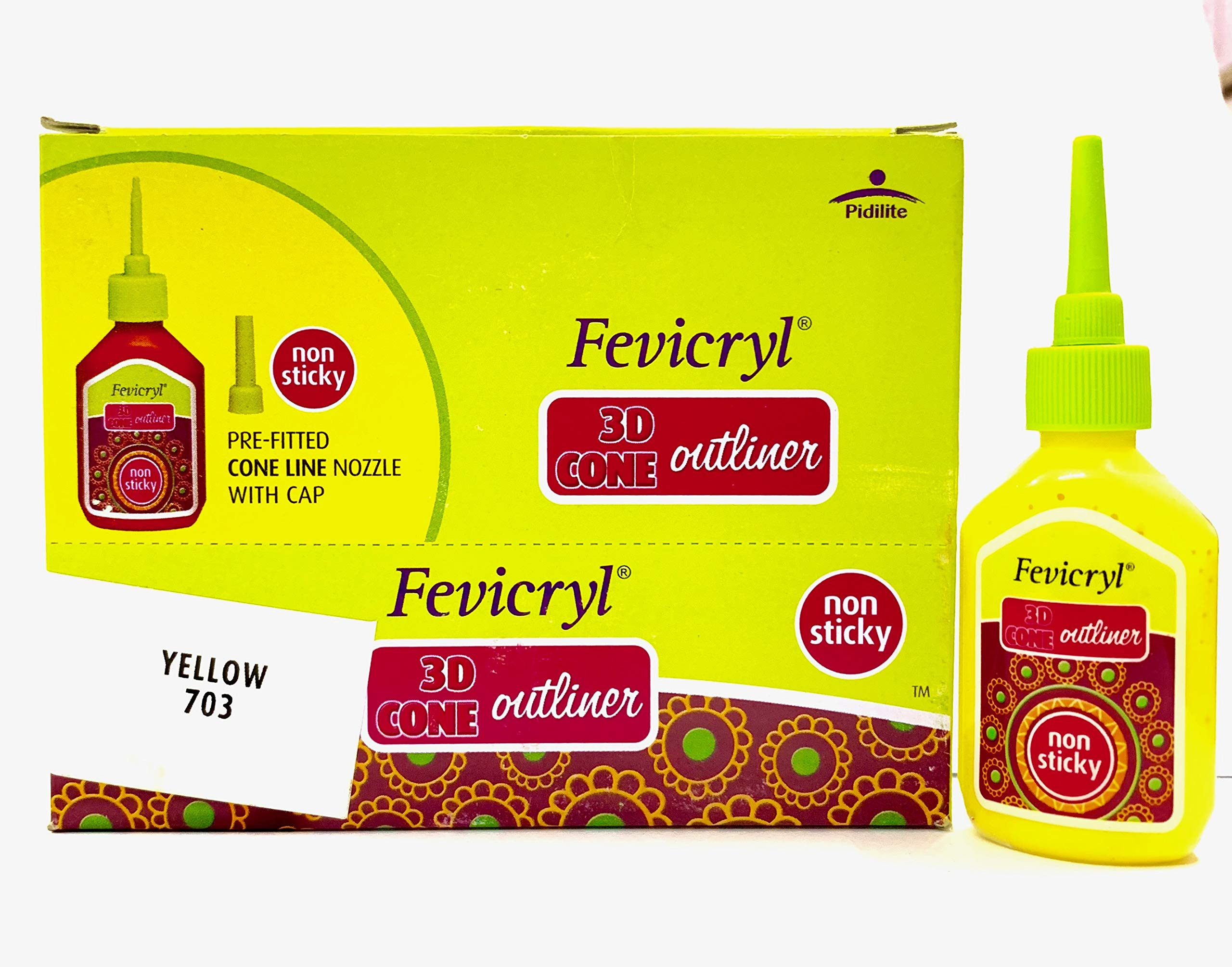 New Fevicryl Non Sticky 3D Cone Outliner Non-Toxic with Pre-Fitted Cone Line Nozzle with Cap (703) - 20ml Bottle -10 Bottle Pack - Colour - Yellow - with Free 3D Keyring by Fevicryl