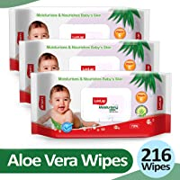 LuvLap Baby Moisturising Wipes with Aloe Vera,72 Wipes, with lid, Pack of 3 Combo