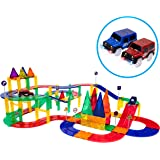 PicassoTiles 80 Piece Race Car Track Building Block Educational Toy Set Magnetic Tiles Magnet DIY Playset 2 Light Up Car…