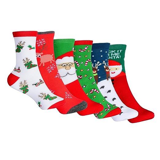 6 pack new fashion holiday novelty socks funny christmas socks festive crew casual socks - Funny Christmas Socks