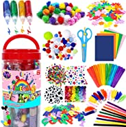 FunzBo Arts and Crafts Supplies Jar for Kids - Craft Art Supply Kit for Toddlers Age 4 5 6 7 8 9 - All in One D.I.Y. Craftin