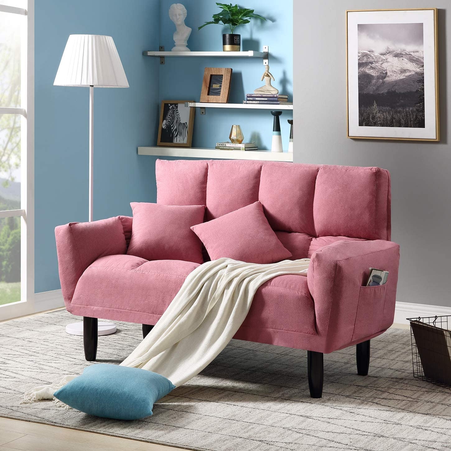 Contemporary Loveseat Adjustable Upholstered Foldable Sofa Couch Sleeper Sofa