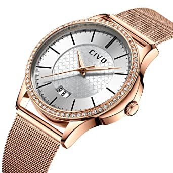 CIVO Women Watches Ladies Watch Luxury Fashion Waterproof Date Calendar  Wrist Watch Business Dress Simple Casual Analogue Watches for Women with  Rose Gold ... 42617d7b6f