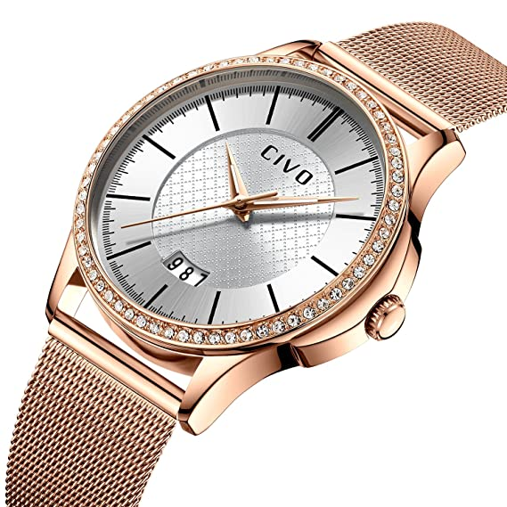 CIVO Relojes para Mujer Pulsera de Malla a Prueba de Agua Fecha Calendario Reloj de Lujo