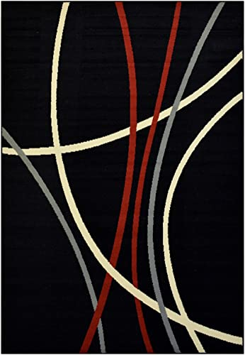 Modela Collection Stripes Abstract Contemporary Modern Area Rug Rugs Black, 7 9 x 9 10