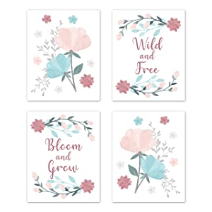 Sweet Jojo Designs Floral Rose Flowers Wall Art Prints Room Decor for Baby Nursery Kids - Set of 4 - Blush Pink Teal Turquoise Aqua Blue Grey Pop Flower Boho Shabby Chic Modern Colorful Watercolor