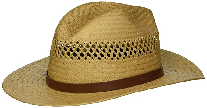 Brixton Men s Case Medium Brim Straw Fedora Hat Newsie Cap  Amazon ... 199d605c2d0