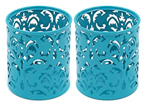 EasyPAG 2 Pcs 3-1/4 inch Dia x 3-3/4 inch High Round Floral Pencil Holder