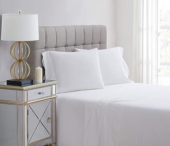 Amazon Com Charisma Percale Cotton 400 Thread Count Sheet Set Queen White Home Kitchen