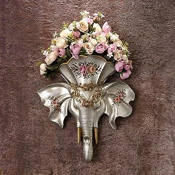 ZHAOJING Wanddekoration Ideen Wanddekorationen Wohnzimmer Studierwand  Dekorationen Wand Anhänger Blumentöpfe Retro Ornamente ( Farbe : Silber