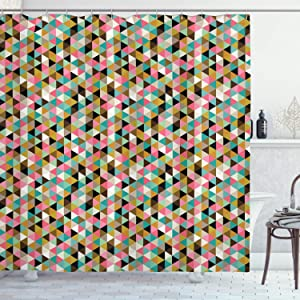 "Ambesonne Geometric Shower Curtain, Retro Vintage 50s 60s 70s Modern Colorful Dots with White Backdrop Art Print, Cloth Fabric Bathroom Decor Set with Hooks, 70"" Long, Mint Green"
