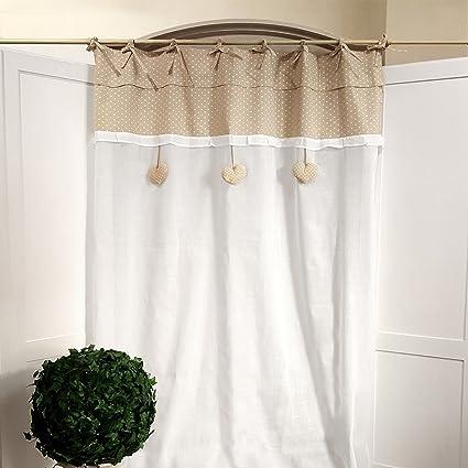 Tenda Shabby chic 130 x 270 cm Colore Bianco / Beige: Amazon ...