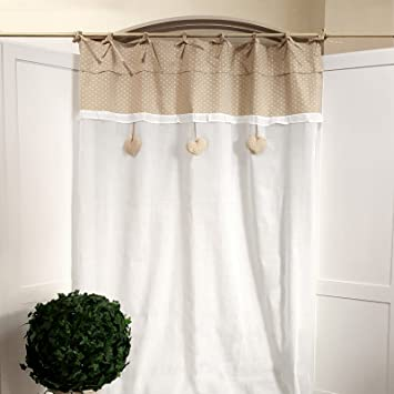 Tenda Shabby chic 130 x 270 cm Colore Bianco / Beige: Amazon.it ...