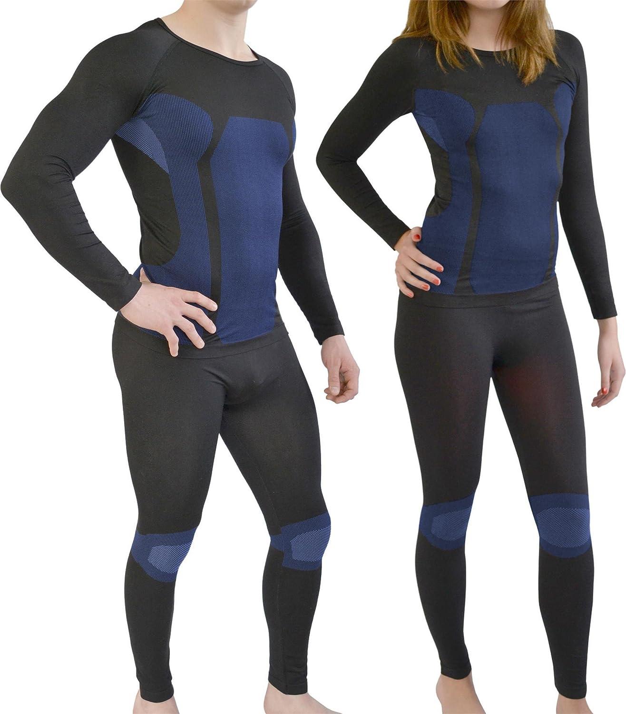 Sport Funktionswäsche Garnitur (Hose + Hemd) für Damen und Herren - Ski Unterwäsche mit Elasthan von normani® Farbe Schwarz/Blau Größe L/XL