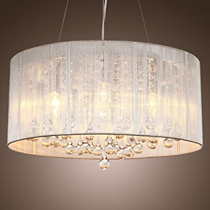 Lightinthebox modern silver crystal pendant light in cylinder shade drum style home ceiling light fixture