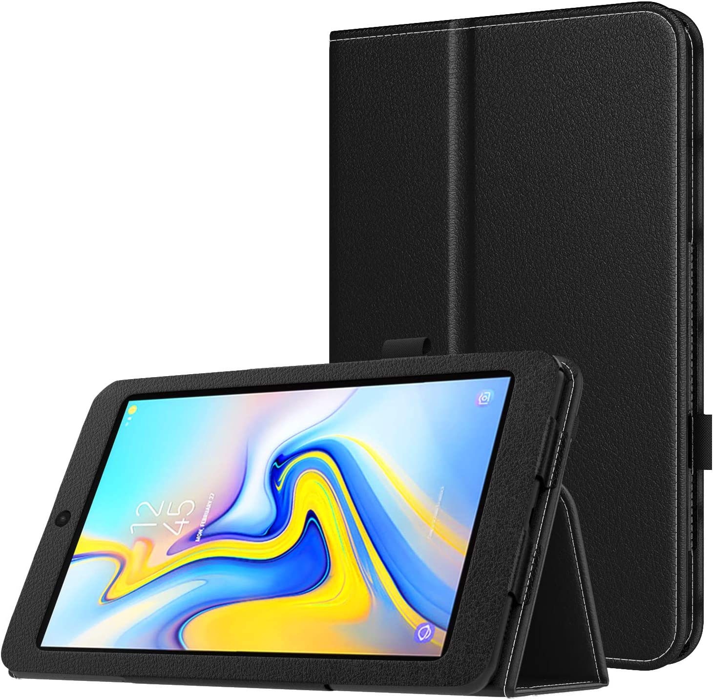 MoKo Case for Samsung Galaxy Tab A 8.0 2018 SM-T387, Premium Folding Stand Slim Smart Cover Case Compatible for Galaxy Tab A 8.0 Inch 2018 Release Tablet - Black