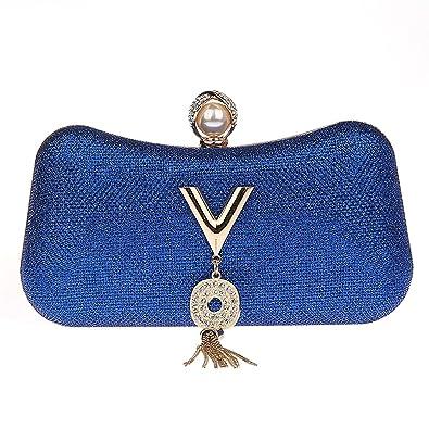fb517957c4055 Ankoee Frauen Damen Mädchen Glitzer Glitzer Clutch Handtasche Geldbörse  Hochzeit Braut Prom Party Abend Handtasche (Blau)  Amazon.de  Schuhe    Handtaschen
