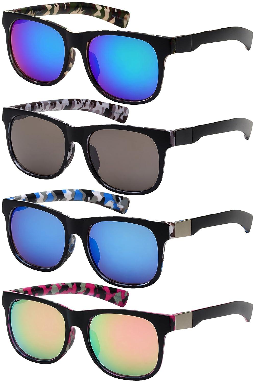 Edge I-Wear Camo Horned Rim Sunnies w//Color Mirror Lens 541047CAMO-REV