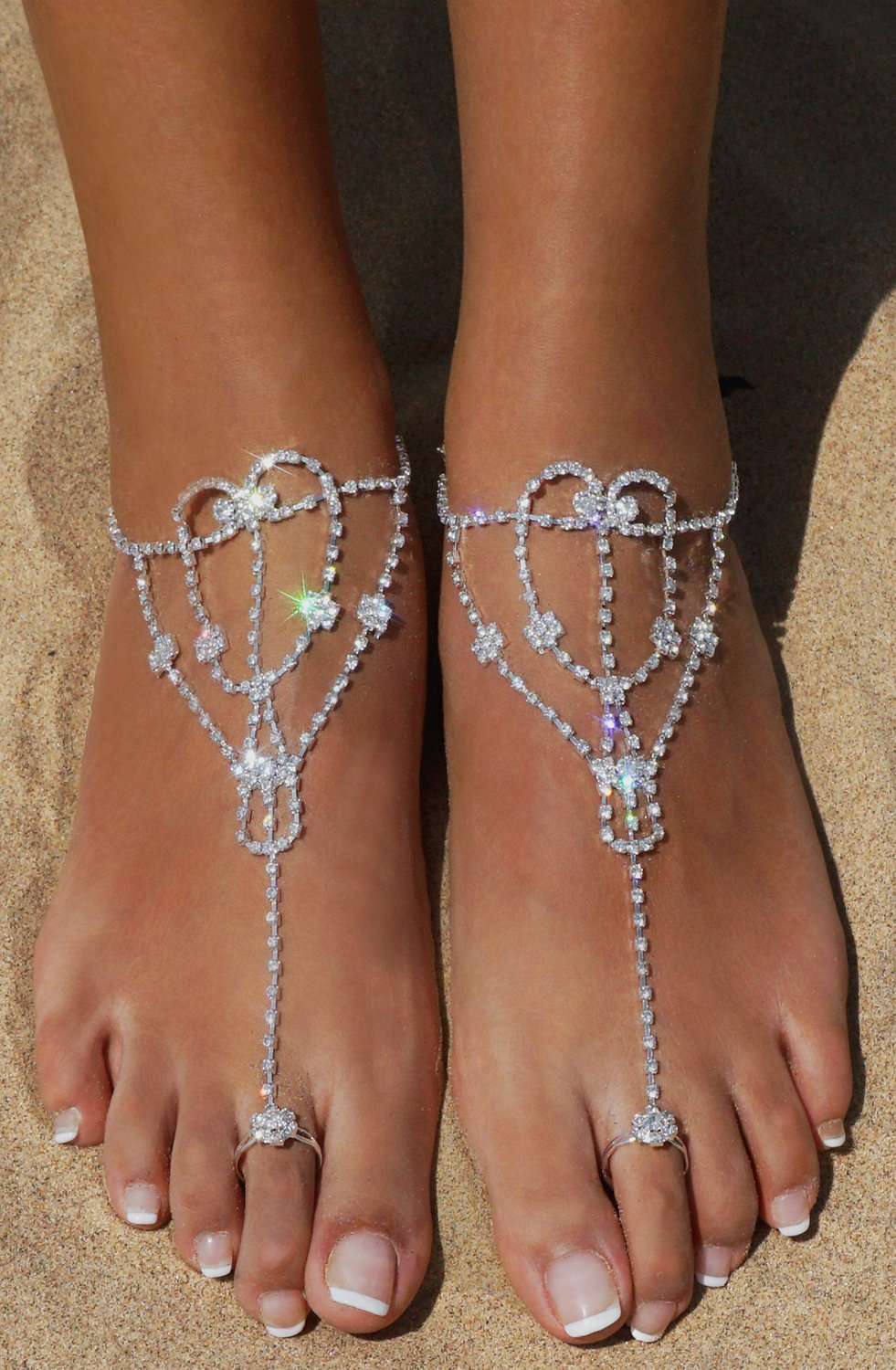 2 Pcs Barefoot Sandals with Rhinestone Toe Ring Beach Wedding Foot Jewelry Anklet Chain,Silver_Style 5 by Bellady (Image #4)