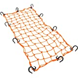 "Powertye 15""x30"" Mfg Large Cargo Net Featuring 10 Adjustable Hooks & Tight 2""x2"" Mesh, Orange"