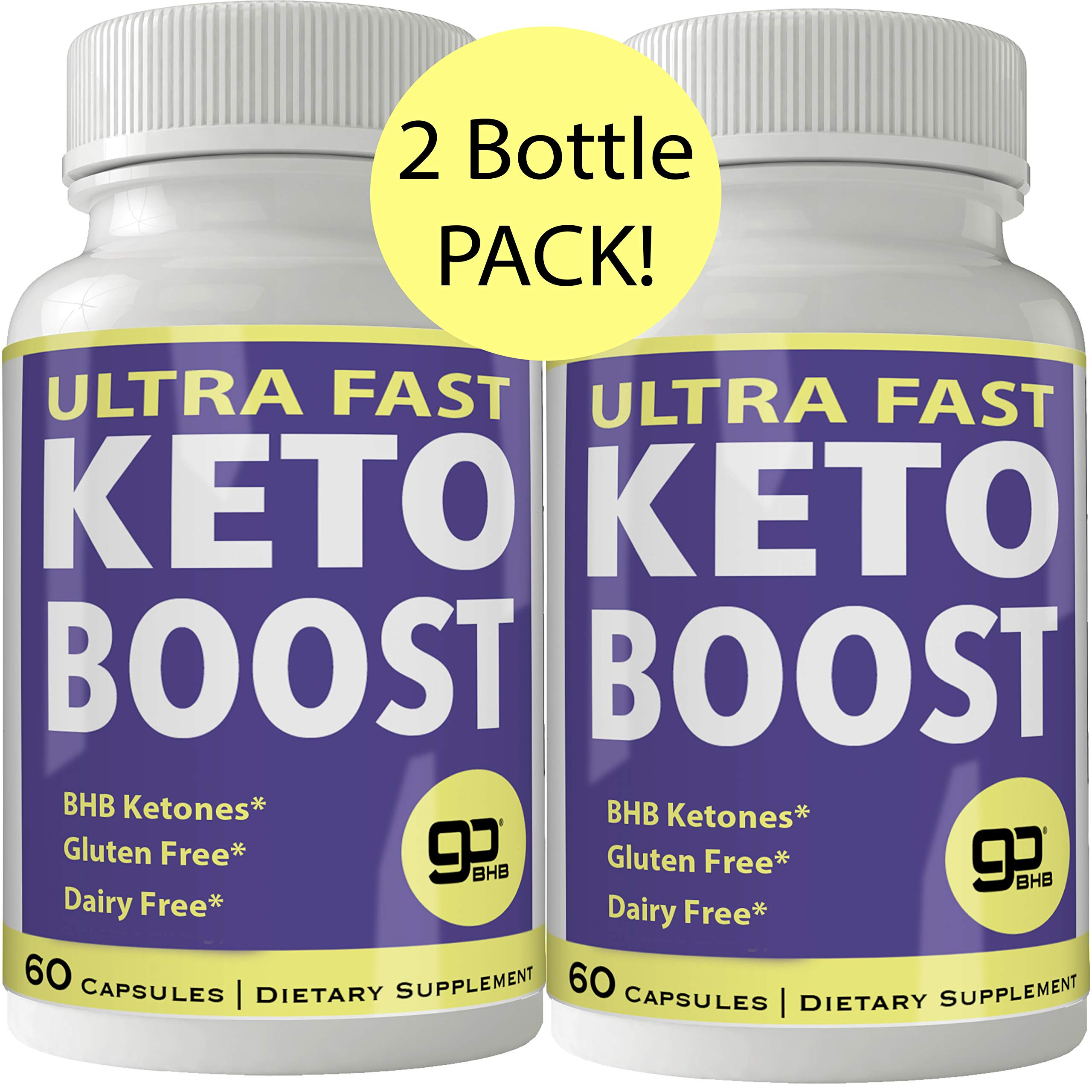 Ultra Fast Keto Boost 2 Bottle Pack Weight Loss Pills with Advanced Natural Ketogenic BHB Burn Fat Supplement Formula 800MG Capsules by nutra4health LLC