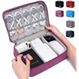 Electronic Organizer Travel Universal Cable Organizer Electronics Accessories Cases for Cable, Charger, Phone, USB, SD Card (Purple)