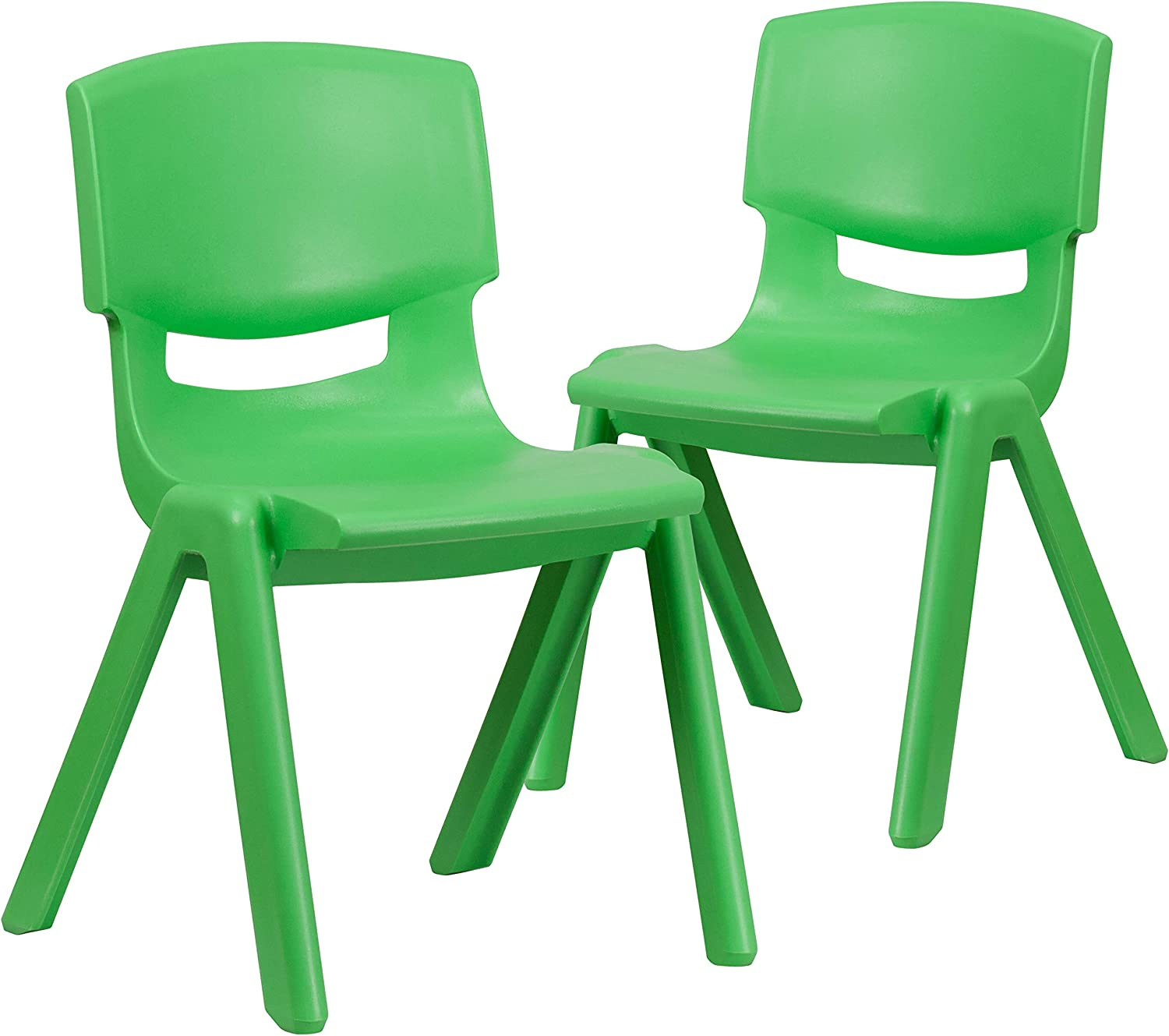 """Flash Furniture 2 Pack Green Plastic Stackable School Chair with 15.5"""" Seat Height"""