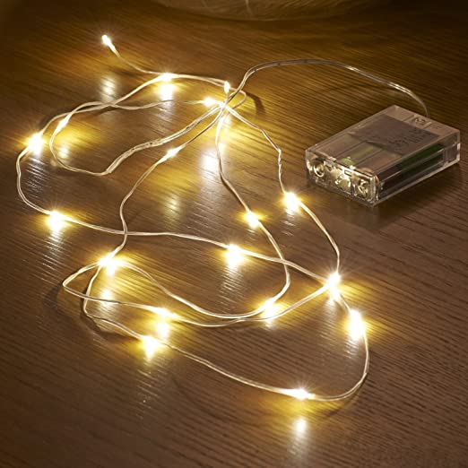 Auraglow 2m battery operated invisible wire 20 micro led string lights warm white