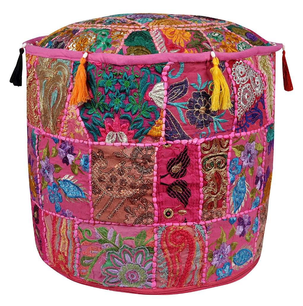 Round Patchwork Embroidered Design Floor Ottoman Cushion Cover 18 X 18 X 14 Inches