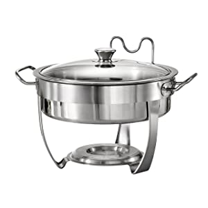 Tramontina 80205/531DS Gourmet Selection Stainless Steel Round Chafing Dish, 4.5-Quart, Made in Brazil