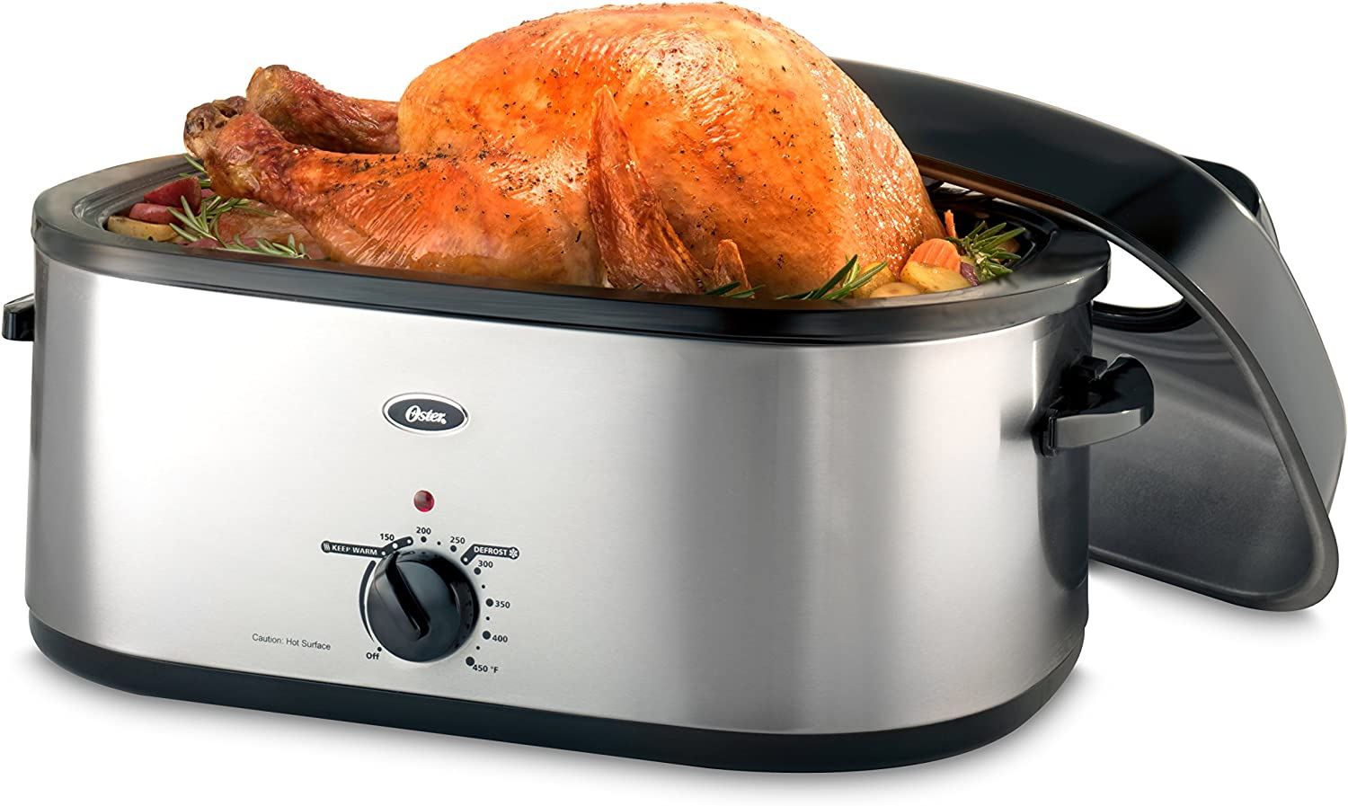 Oster 20-Quart Roaster with Self-Basting, High-Dome Lid, Brushed Stainless Steel – CKSTRS20-SBHVW