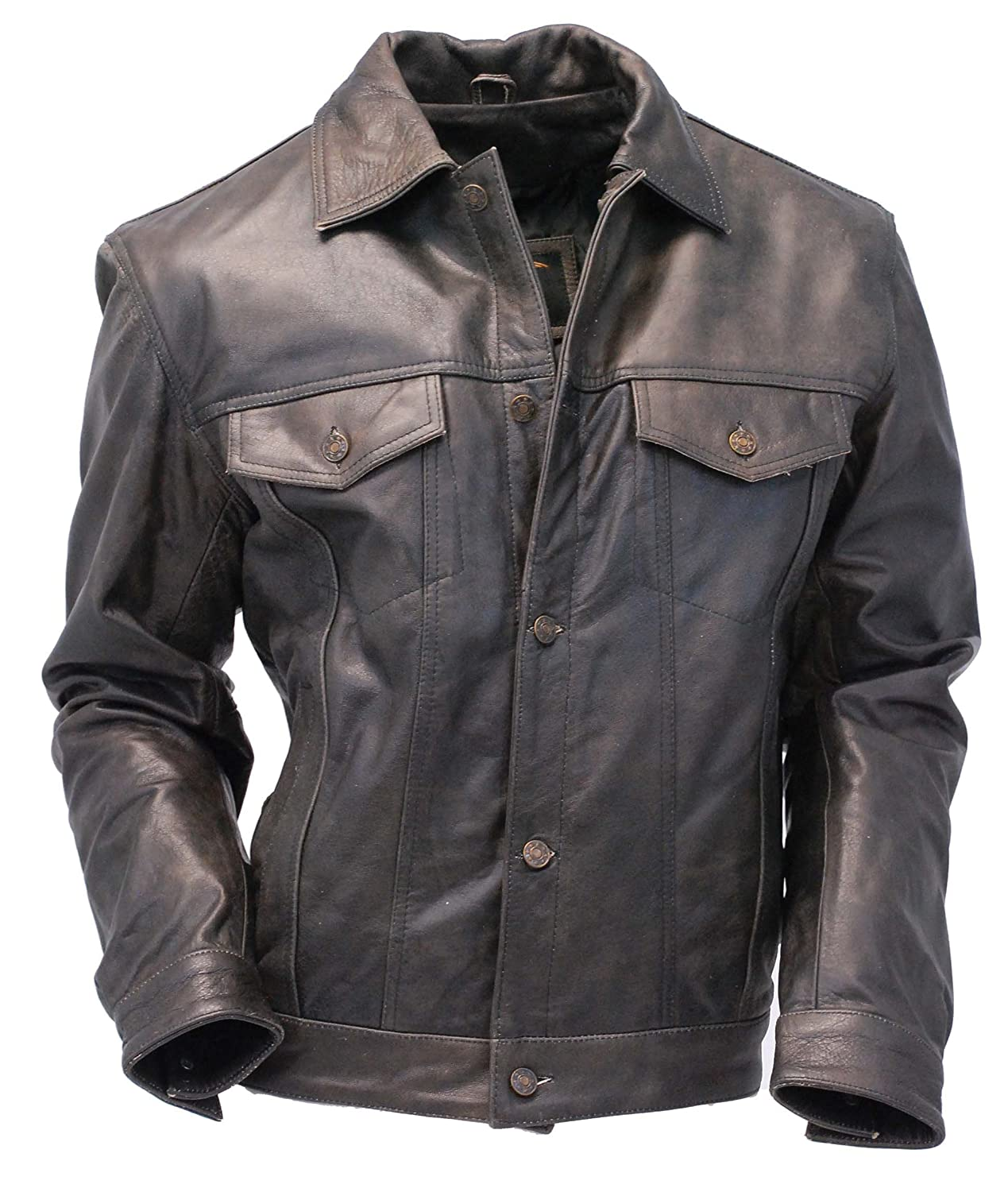 4cccabfa1 Jamin' Leather Vintage Leather Jean Jacket - Denim Style #M321GY at ...