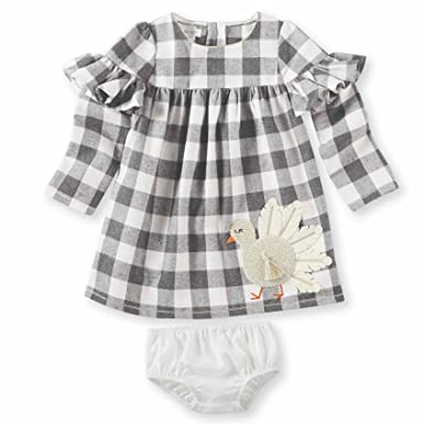 a98a3328a8 Mud Pie Baby Girls Thanksgiving Turkey Plaid Long Sleeve Casual Dress,  Off/Off/