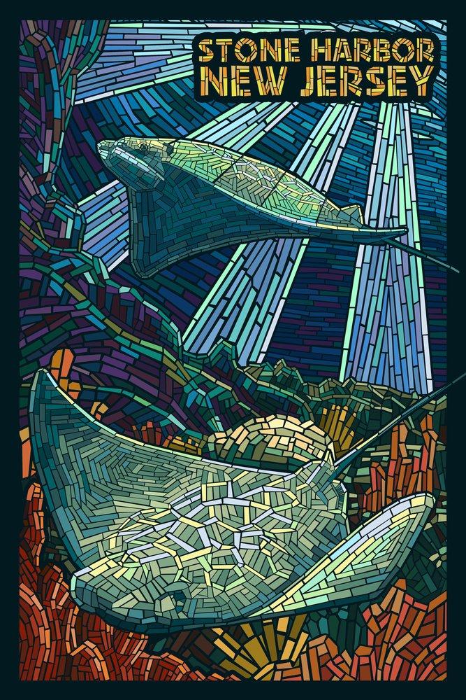 Stone Harbor, New Jersey - Cownose Rays - Mosaic (12x18 Art Print, Wall Decor Travel Poster)
