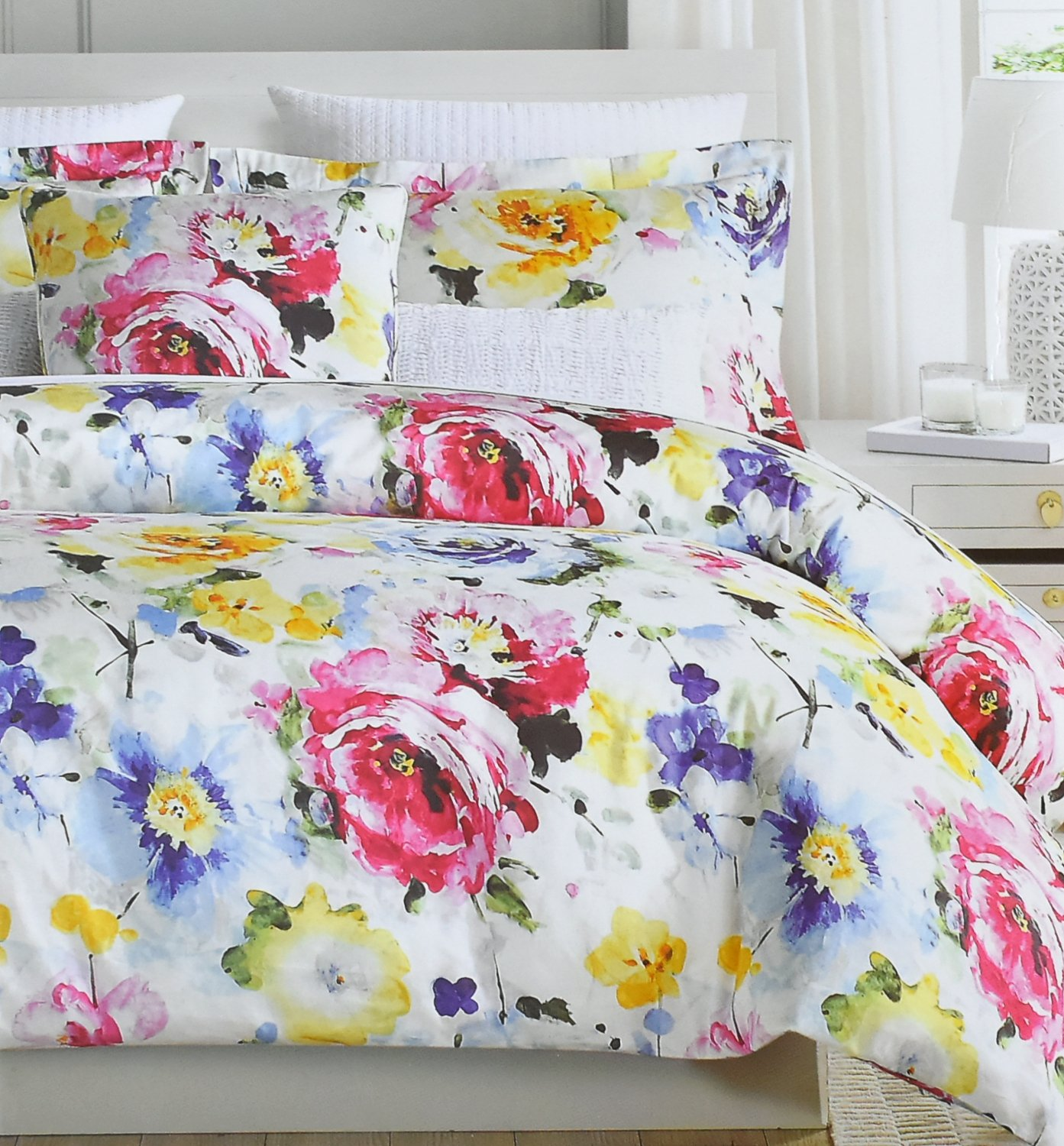 Vintage Botanical Wild Flower Print Duvet Quilt Cover 100-percent Cotton Bedding Set Colorful Floral Branches Drawing of Summer Blossoms (Queen, Summer Bloom)
