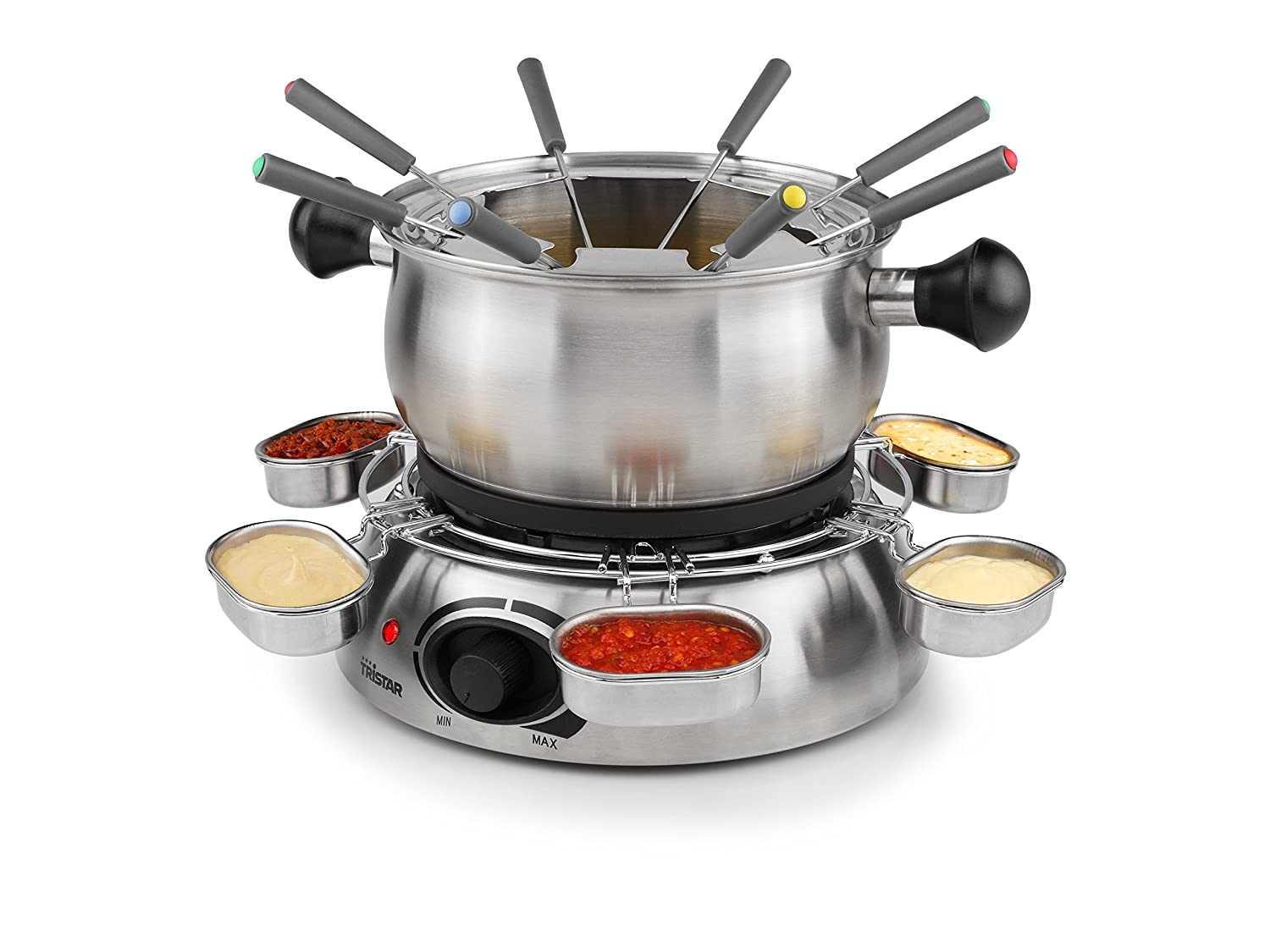 Tristar Stainless Steel Housing Fondue Sauce Ring with 6 Cups, Black FO-1100