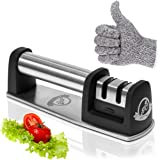 Manual Knife Sharpener by Ingenious Chef   Two Stage Sharpening Kitchen Tool + Cut Resistant Glove + eBook with Tips for Cooking like a Chef